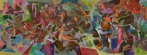 Yastığa Kafayı Koyunca - Tuval üzerine akrilik boya - 2014 - 75x195cm