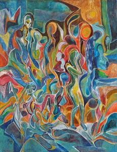 Yazı Dinleyen - Tuval üzerine akrilik boya - 2016 - 65x50cm